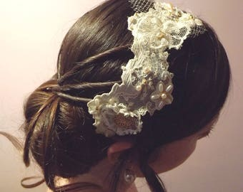 antique lace Bohemian wedding headband