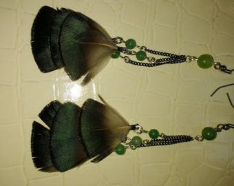 Aventurine gemstones and natural feather earrings