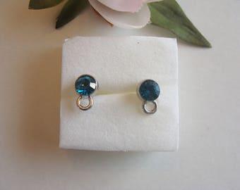 Dark blue rhinestone zinc alloy round earring