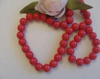 Set of 5 red diameter 10 mm glass beads