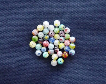 Glass beads 40 multicolored way Millefiori 6 mm