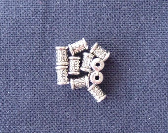 10 spacer beads silver metal tube