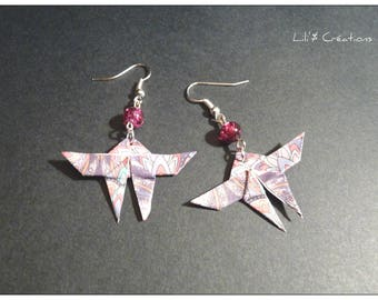 Purple and pink origami butterfly earrings