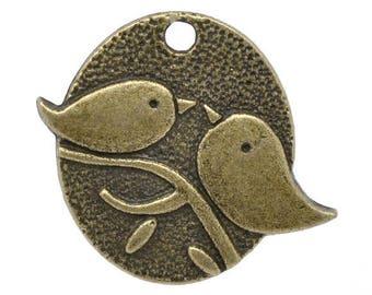 1 charm pendant antiqued bronze tone 29x25mm birds