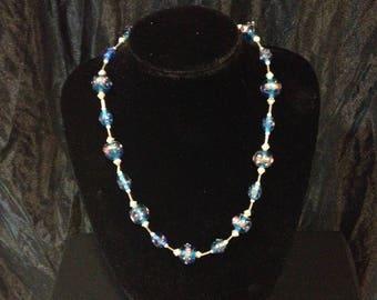 Blue Venetian glass beads necklace