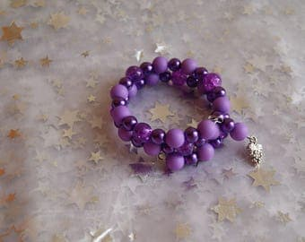Grape and purple memory Wire Bracelet