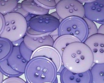 10 vintage mauve and purple plastic button 13 mm scrapbooking