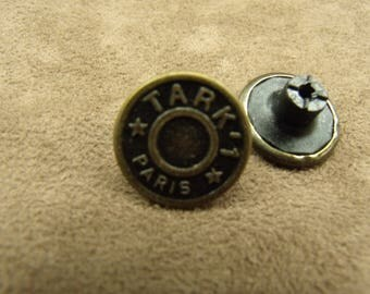 DENIM button - 17 mm - bronze Tark