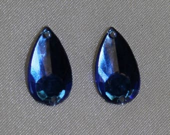 drop-16 mm blue rhinestone
