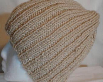 Dull Gold Wide knit beanie