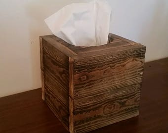 Pallet tissue box cover, rustic, wood, wood burned, reclaimed