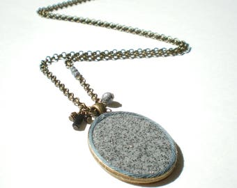Locket necklace oval granite effect