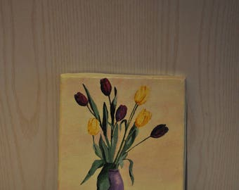 "Painting ""bouquet of tulips"". Acrylic paint."