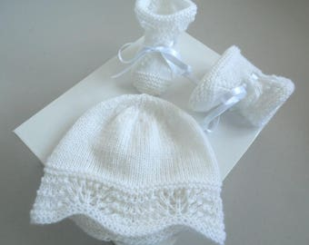 Duo 1-3 months Hat baby pink knit wool baby booties