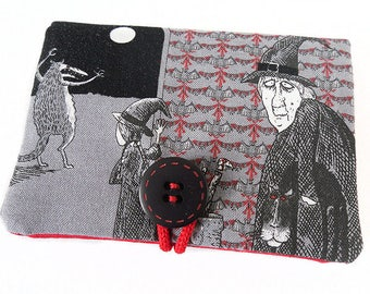 """Case / holder """"witch"""" black and Red halloween fabric"""