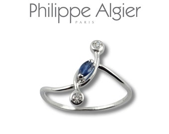 Sapphire diamond 18 k white gold ring.
