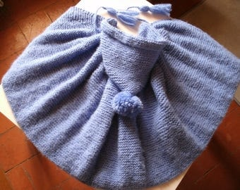 bathrobe birth to 6 months of intense blue, wool soft duveteuse(15% laine)