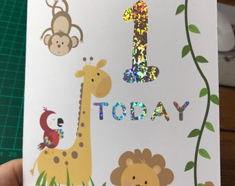 Personalised foiled children's jungle birthday card for boys or girls