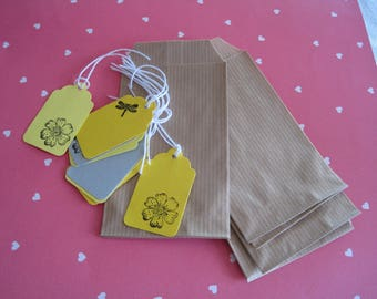 Set of pouches or favor tags, kraft, spring, bird, flower, dragonfly