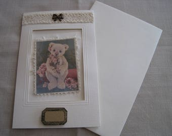 Greeting card and envelope, transfer, old Teddy, lace, bow, vintage kraft label