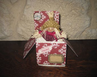 Card, box, girl, butterfly tag kraft burlap brads
