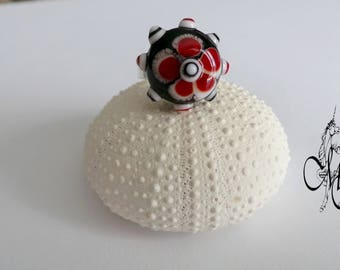 Red and black Lampwork bead ring