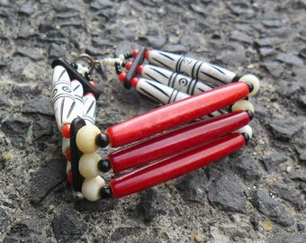 Native American bracelet red and bone