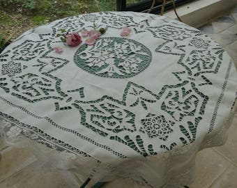 Antique French tea tablecloth. Embroidered Richelieu tablecloth lace tablecloth with the vintage embroidery, antique embroidery tea tablecloth and lace.