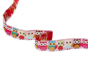 Ribbon woven theme OWL OWL pink multicolor 15mm - SC60104.