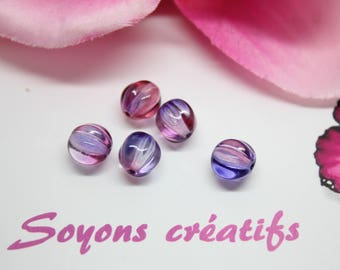 Lot 5 beads pumpkin Czech Pink Purple 8 mm SC0090910 - design - jewelry