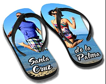 Adult flip flops personalized with your photo