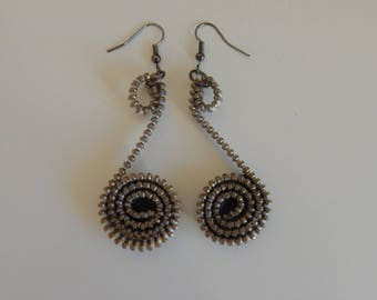 "Earrings ""zip"" antique silver zipper"
