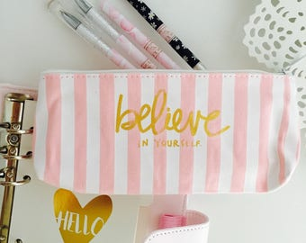Molt pink/white striped zipper pouch for pens cosmetic bag