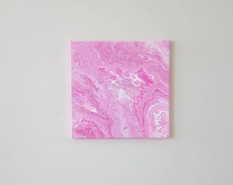 "COTTON CANDY - Abstract fluid acrylic painting in shades of Pink and White on a 12"" × 12"" canvas"