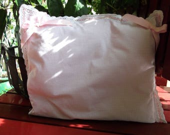 Cotton gingham pillow cover pink and white