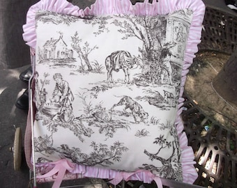 taupe French toile de jouy print pillow cover