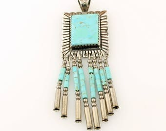 Sterling Silver and Turquoise Pendant with Fringe, Silver Jewelry