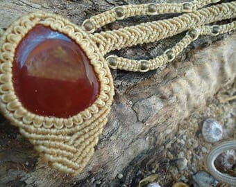 Macrame necklace with fire Agate Crystal