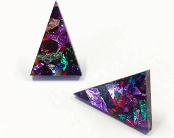 Triangle studs - Confetti