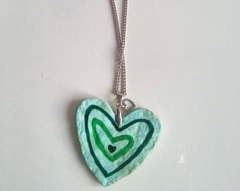 paper mache Heart Necklace handmade necklace