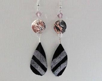 Glitter feathers, swarovski earrings