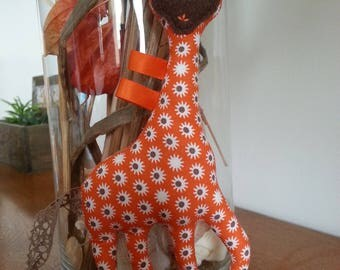 Kit to sew yourself a cuddly giraffe fabric little flowers orange, pink and white print