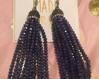 Dark Purple Beaded Tassel Earrings