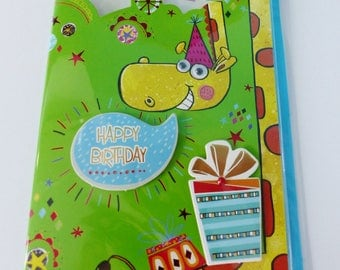 double birthday card in 3D giraffe gift with beads moving eyes and assorted color envelope
