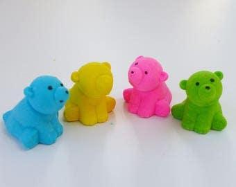 Set of 4 Pooh bear animal erasers fun supply kit