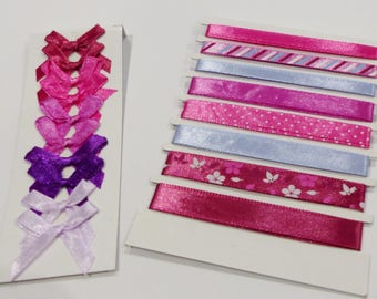 8 satin ribbons and 10 in the colors of red, Fuchsia, purple and pink satin bows