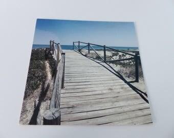 wood square Beach card