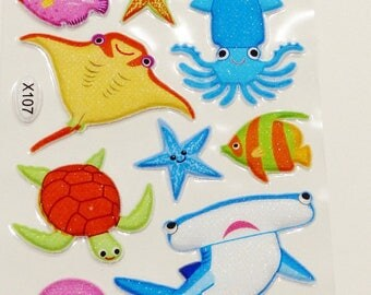 sheet of 18 stickers embossed Stingray fish turtle shark clown fish