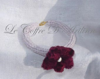 White iridescent knitting and velvet flower bracelet