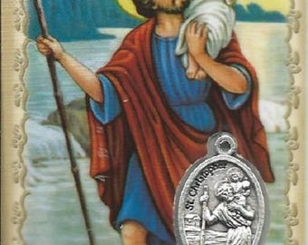 Card laminated medal Saint Christopher patron of travelers 8.5 cm x 5.4 cm pious image